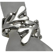 Wide Abstract  Modernist Mexican Sterling Silver Clamper Bracelet
