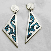 Long Sterling Silver  Mexican Crushed Chip Turquoise Dangle Earrings