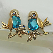 Vintage 1940s Sterling Silver Gold Wash Bird Screw Back Earrings Adorable