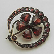Antique Victorian Rose Cut Bohemian Garnet Shamrock Pin Pin Brooch