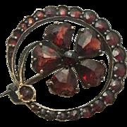 Antique Victorian Rose Cut Bohemian Garnet Shamrock Pin Pin Brooch