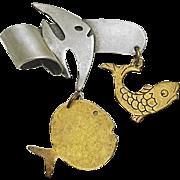 Susan L Richardson Sterling & Brass Dangling Fish Pin 1995