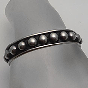Mexican Taxco Sterling Silver Half Ball Cuff Bracelet