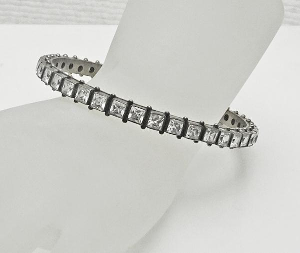 Sterling Silver Crystal Bangle Bracelet Glamorous