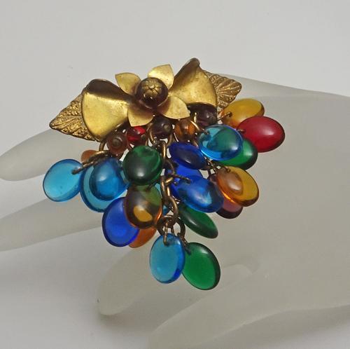 Vintage Glass Bead Drop Dress Clip Colorful