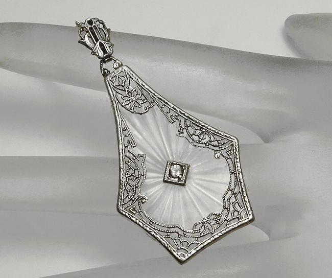 Vintage Art Deco Camphor Glass Sterling Silver Pendant Necklace