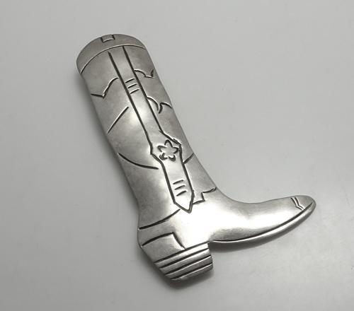 Large Fancy Cowboy Boot Native Indian Sterling Silver Pin
