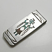 Vintage Native American Crushed Turquoise Coral Kachina Sterling Silver Money Clip