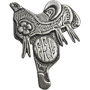 Fancy Floral Sterling Silver Horse  Saddle Pin