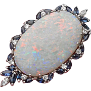14K White Gold Sapphire Diamond Opal Pendant HUGE and Colorful!