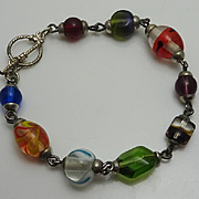 Sterling Silver Murano Glass Bracelet Colorful