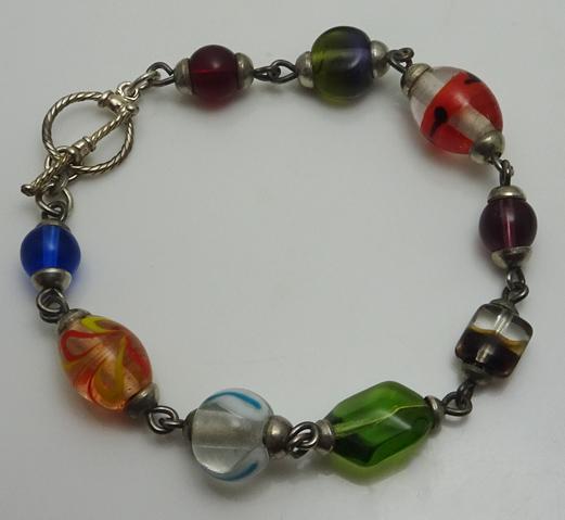 Sterling Silver Murano Glass Bracelet Colorful