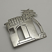 Large Sterling Silver Taxco Mexican Hacienda House Palm Tree Pin
