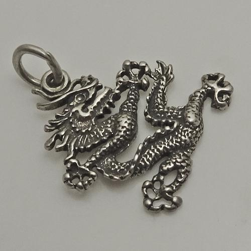 Ornate Sterling Silver Chinese Dragon Charm
