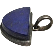 Chunky Vintage Sterling Silver Lapis Pendant