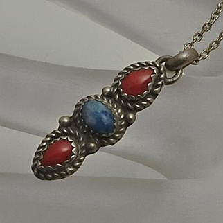 Sterling Silver Native Indian Coral Denim Lapis Pendant Necklace