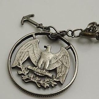 Vintage Cut Out Hobo Charm Eagle Anchor Sterling Silver Bracelet