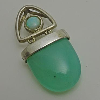 Small Sterling Silver Opal Green Stone Slider Pendant Signed