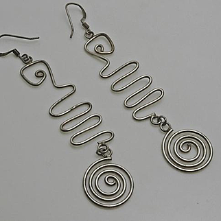 Long Sterling Silver Artisan Modernist Earrings