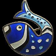 Vintage David Andersen Blue Fish Brooch Pin Sterling Enamel Norway