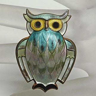 Vintage Sterling Pastel Enamel Norway Owl Brooch Pin  David Andersen