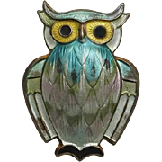 Vintage Sterling Pastel Enamel Norway Owl Brooch Pin  David Andersen