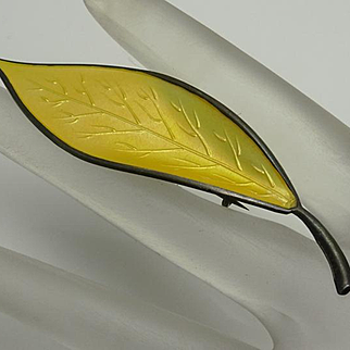 Vintage Norway David Andersen Large Yellow Leaf Sterling Silver Brooch Pin