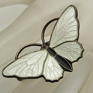 Small Vintage Askel Holmsen White Enamel Norway Butterfly Pin