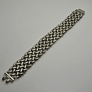 Vintage Heavy Wide Chunky Sterling Silver Mens Mans Woven Link Bracelet
