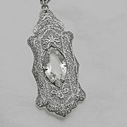 Large Vintage 1920s Rhodium Plated Filigree Necklace