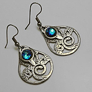 Sterling Silver Abstract Bid Peacock Glass Earrings