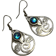 Sterling Silver Abstract Bid Peacock Glass Earrings