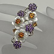 Sterling Silver Amethyst Mother Of Pearl Citrine Slider Flower Pendant