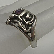 Vintage Sterling Silver Abstract Erotica Entwined Lovers Artisan Garnet Ring Size 6