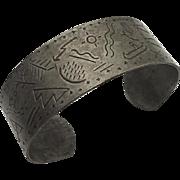 Vintage Primitive Indian Cuff Bracelet  Hieroglyphics Depicting Native Life