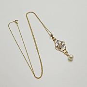 Vintage Art Nouveau Enamel Pearl 10k Gold Lavaliere Flower Necklace