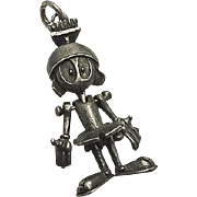 Vintage Moving Marvin The Martian Sterling Silver Warner Brothers Bros Charm Pendant