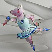 Zarah Enamel Sterling Silver Dancing Pig Ballerina Figural Pin