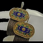 Vintage Sterling Silver Enamel Multi Strand Wheat Chain Fringe Earrings Long 84NU