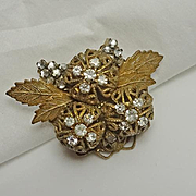 Vintage Unsigned Miriam Haskell Rhinestone Flower Pin Brooch