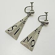 Vintage Long Triangular Mexican Si No Sterling Silver Earrings Screw On Cuernavaca