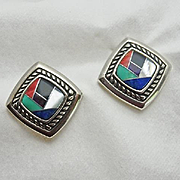Colorful Turquoise Mother of Pearl Lapis Gemstone Mosaic Inlay Carolyn Pollack Sterling Silver Earrings