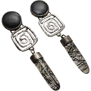 Long Vintage Artisan Modernist Sterling Silver Onyx Horse Hair Earrings