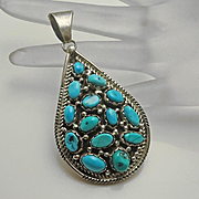 Large Native American Indian Sterling Silver Turquoise Cluster Necklace Pendant