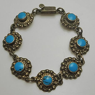 Mexican Sterling Silver Turquoise Flower  Bracelet