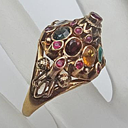 Vintage Thai Princess 11k Solid Yellow Gold Multi Gemstone Ruby  Harem Ring High Dome Size 8
