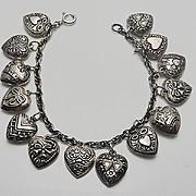 Vintage Sterling Silver Puffy Heart 14 Charm Bracelet