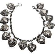 Vintage Sterling Silver Puffy Heart 14 Charm Bracelet