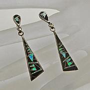 Long Sterling Silver Onyx Synthetic Opal Inlay Earrings