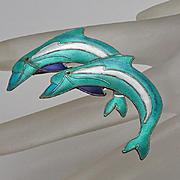 Enamel Sterling Silver Porpoise Dolphin Figural Pin Zarah
